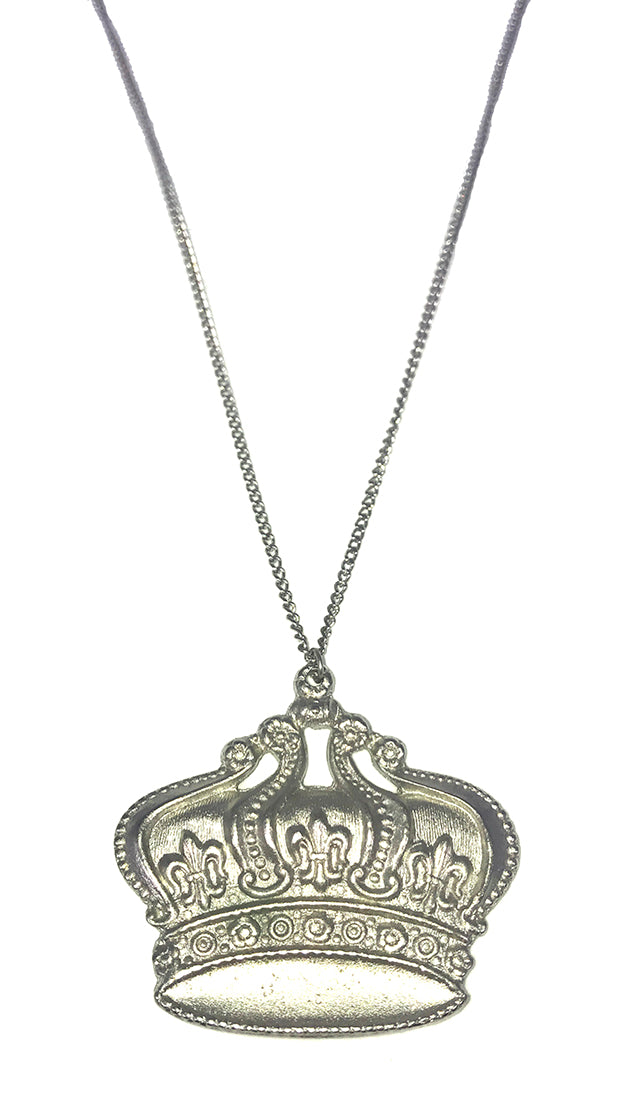 Funky Girl Bling Jewelry Funky Crown Royal Necklace Silver