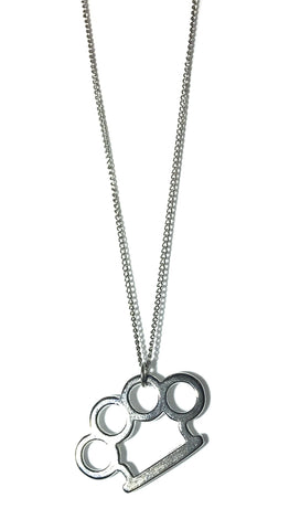 Jessyka Robyn Brass Knuckle Charm Necklace in Silver