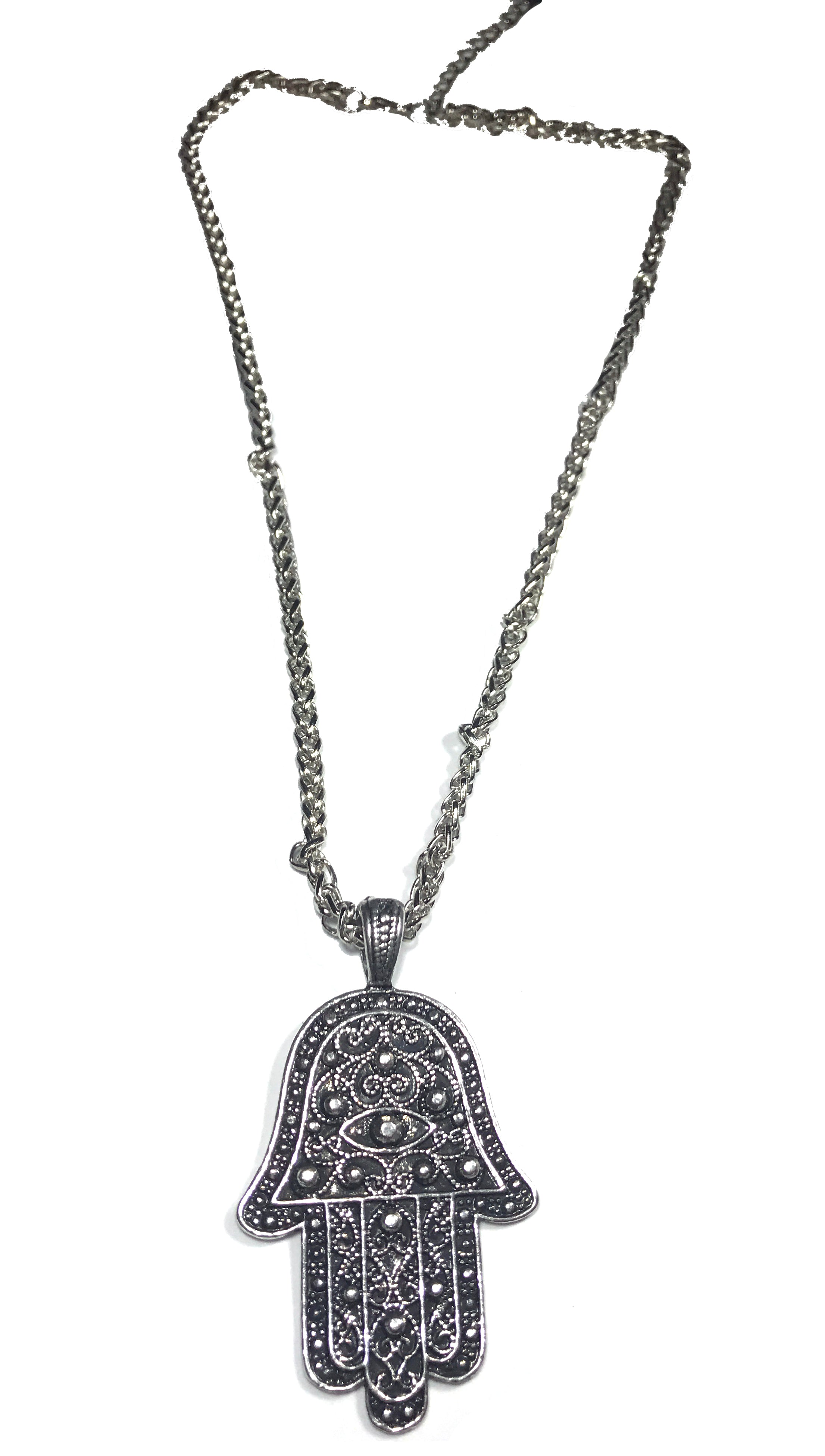 Hamsa Rhinestud Charm Necklace in Antique Silver