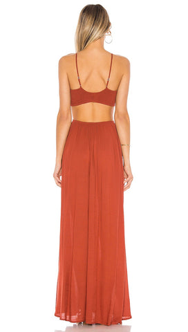 Innocence Solid Smocked Bra Cutaway Maxi Dress Mole | ShopAA