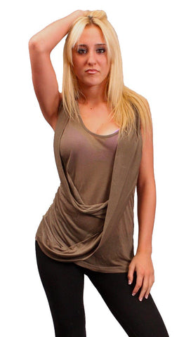 Iron by Sheri Bodell Tank with Front Drape in Olive