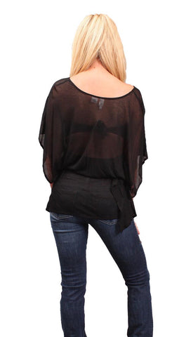 Iron by Sheri Bodell Caftan Sheer Blouse in Black
