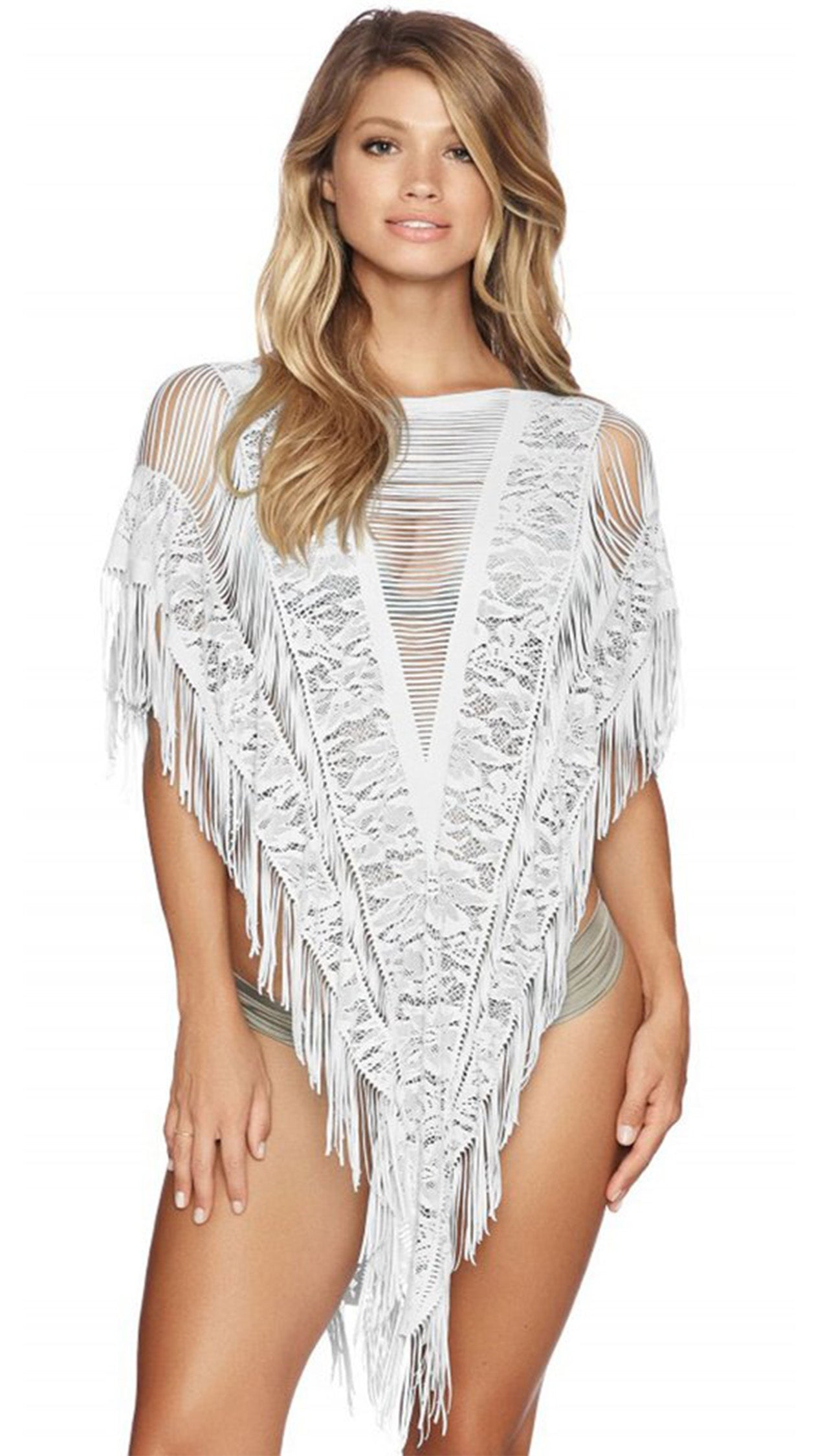 Indian Summer Poncho in White Floral Lace Stripe Beach Bunny Swimwear