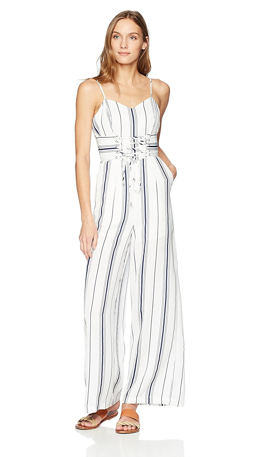 2b4c6cb81f9a J.O.A. JOA Sleeveless Bustier Jumpsuit Corset Lace Up Belt White Navy  Stripes
