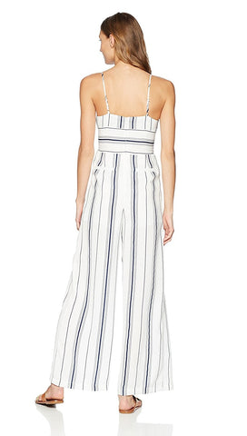 J.O.A. Sleeveless Bustier Jumpsuit Corset Lace Up Belt White Navy Stripes