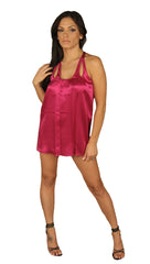 Janet Silk Stitched Top Hot Pink Cut Out Tank