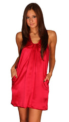 Janet Silk Pocket Dress Red