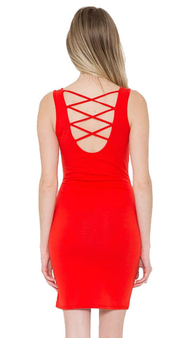 Sleeveless Strappy Back Mini Short bodycon Dress Red Orange-shopaa-