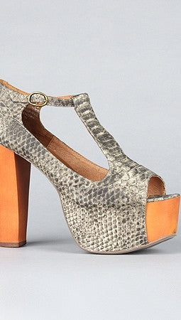 Jeffrey Campbell Foxy Wood in Taupe Grey Python