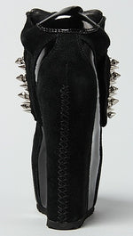 Jeffrey Campbell Spiked Dramo Shoe in Black Suede and Silver