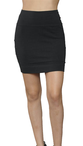 Jessyka Robyn Solid Cotton Mini Skirt in Black
