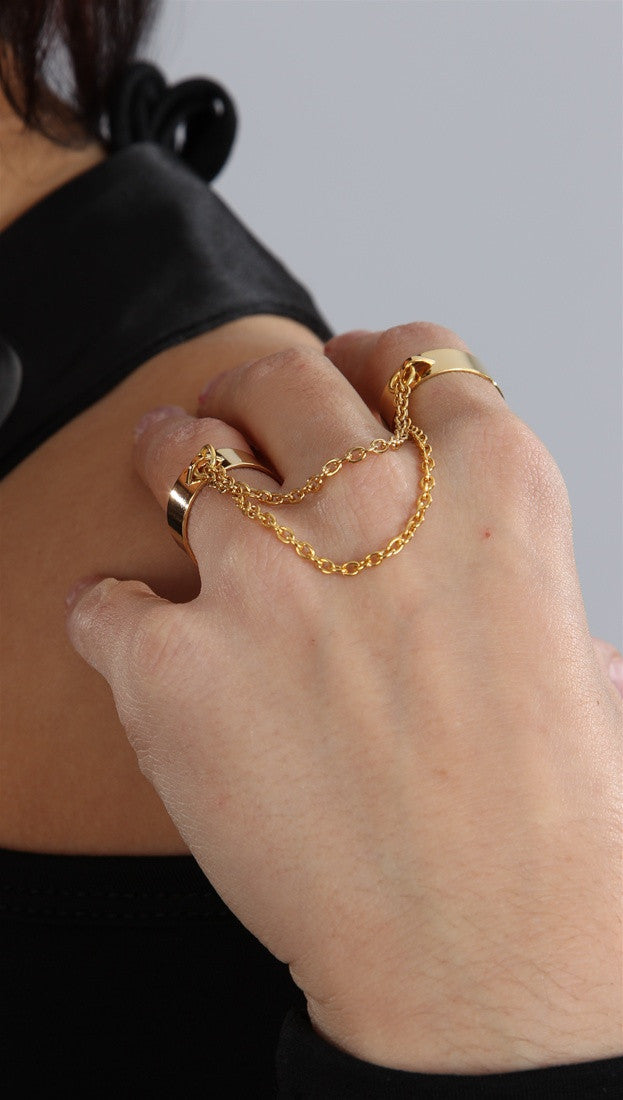 Jessyka Robyn Two Finger Gold Cuff Chain Ring