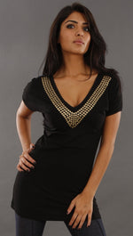 Jessyka Robyn Studded Tee in Black