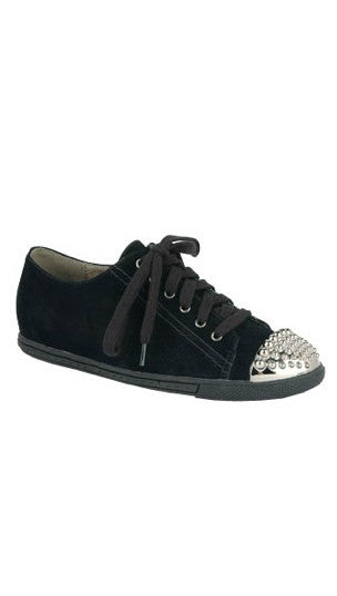 Annabel Low Top Sneaker with Metallic Stud Toe in Black