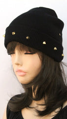 Gold Spike Knit Beanie in Black