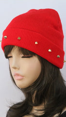 Gold Spike Knit Beanie in Red