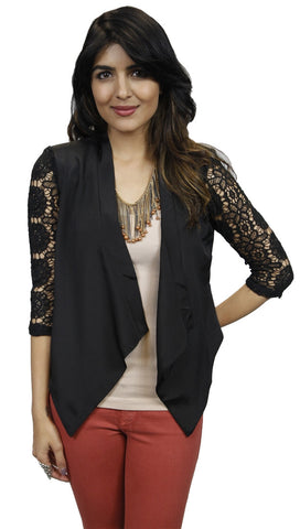 Jessyka Robyn Crochet Sleeve Blazer in Black