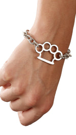 Jessyka Robyn Brass Knuckle Bracelet in Silver