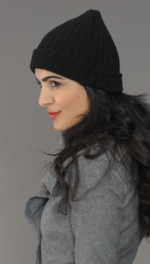 Black Fitted Knit Beanie