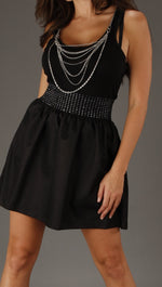 Kimberlina Couture Two Piece Chain Dress in Black