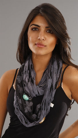 Jessyka Robyn Embellished Scarf Necklace in Grey