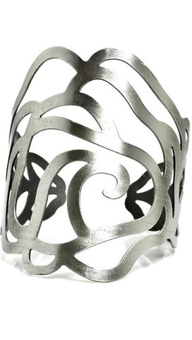 Jessyka Robyn Flower Metal Cuff Bangle in Silver