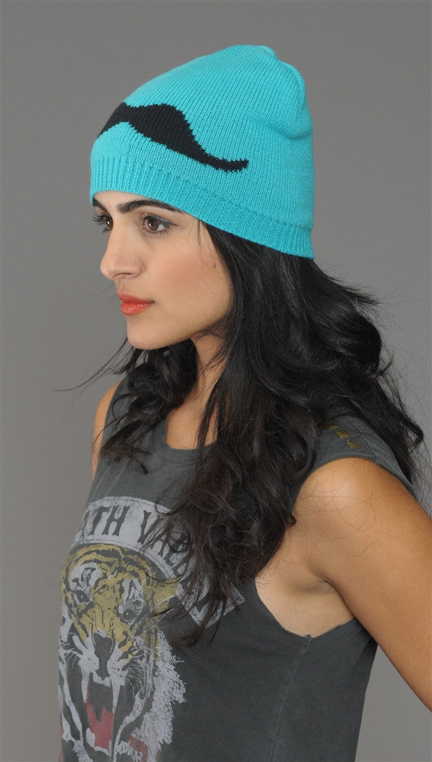 Mustache Knit Beanie Hat in Turquoise