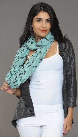 Mustache Infinity Scarf in Mint Green