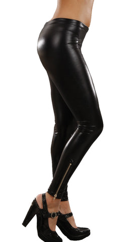 Jessyka Robyn Leather Ankle Zipper Leggings Black