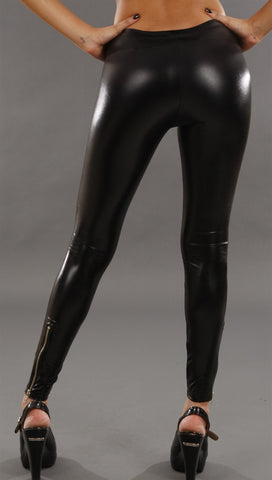 Jessyka Robyn Leather Zipper Leggings