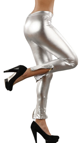 Jessyka Robyn Vinyl Vegan Leather Ankle Zipper Leggings in Silver
