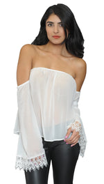 Jessyka Robyn Audrey Off Shoulder Lace Top in Ivory