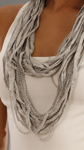 Jessyka Robyn Thin Scarf Chain Necklace in Grey