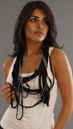 Jessyka Robyn Thin Scarf Chain Necklace in Black
