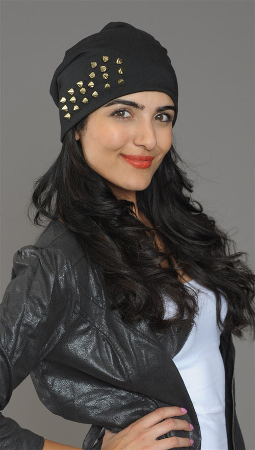 Spike Studded Beanie in Black