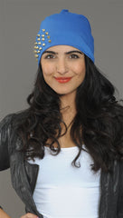 Spike Studded Beanie in Blue