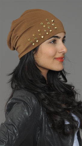 Spike Studded Beanie in Brown