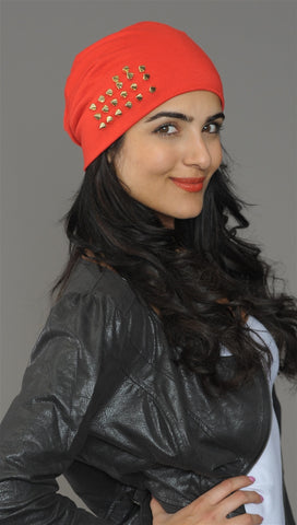 Spike Studded Beanie in Red