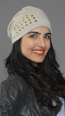 Spike Studded Beanie in Taupe