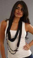 Jessyka Robyn Scarf Ribbon Chain Necklace in Black