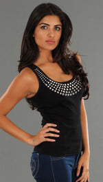 Kimberlina Couture Studded Tank Top in Black