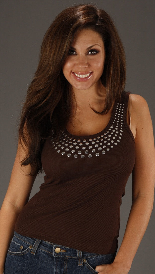 Kimberlina Couture Studded Tank Top in Brown