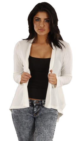 Jet John Eshaya Asymmetrical Wrap Cardigan in Cream Off White