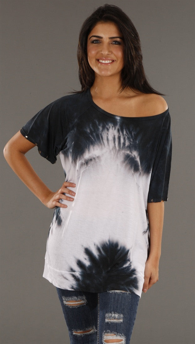 Jet Tie Dye w/ Stud Sleeves Tee in Gray