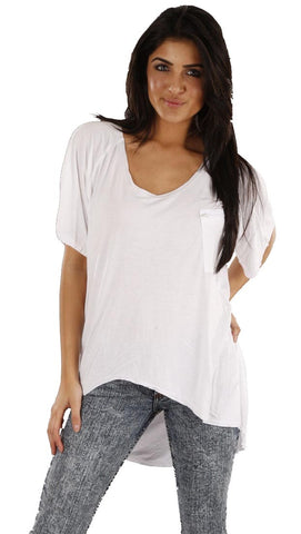 Jet John Eshaya Zip Pocket Uneven Hem Oversized Tee Shirt in White