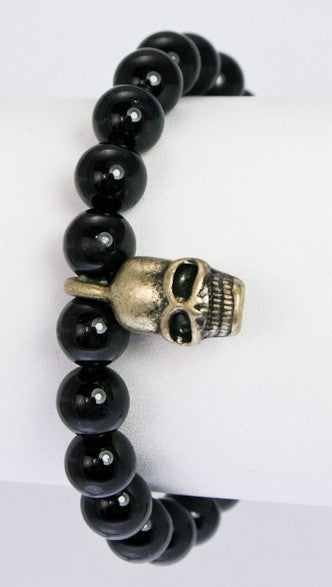 Semi Precious Stone Beads w/ Metal Skull Pave Ball in Black