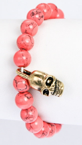 Semi Precious Stone Beads w/ Metal Skull Pave Ball in Coral