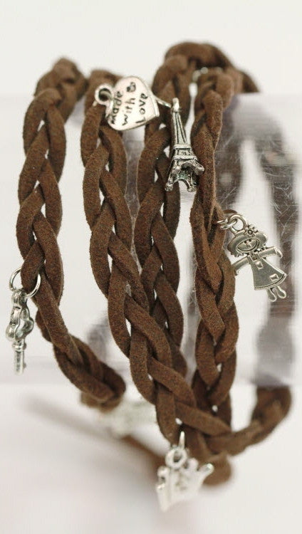 Braided Friendship Charm Bracelet in Brown