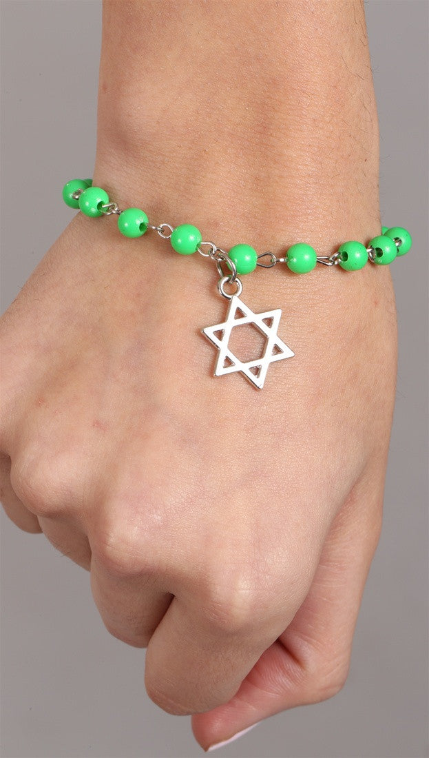 Jewish Rosary Beads Star Bracelet in Green