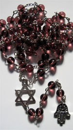 Jewish Rosary Beads Star of David & Hamsa Clear Purple